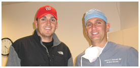 Dr. Andrew Holzman and Washington Nationals ace pitcher John Lannan.